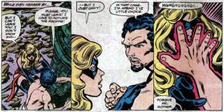 """W zeszycie """"Avengers #200"""" Ms. Marvel zdaje sobie sprawę, że jest w ciąży; z czasem dowiadujemy się, że porwał ją złoczyńca Marcus, który zrobił bohaterce pranie mózgu i sprawił, że go pokochała; antagonista uprawiał z nią seks wbrew jej woli, doprowadzając do zapłodnienia kobiety"""