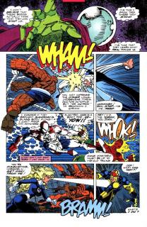 Avengers i Fantastyczna Czwórka walczą między sobą i we własnym gronie wierząc, że prowadzą bitwę ze złoczyńcami