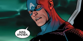 """Kapitan Ameryka w windzie wypowiada pamiętne """"Hail Hydra!"""" – obserwujemy tu więc tak nawiązanie do słynnej sceny z """"Zimowego żołnierza"""", jak i zabawę konwencją. Pamiętajmy jednak, że całkiem niedawno w komiksach wyjawiono, iż Cap przez długie lata pozostawał uśpionym agentem Hydry."""