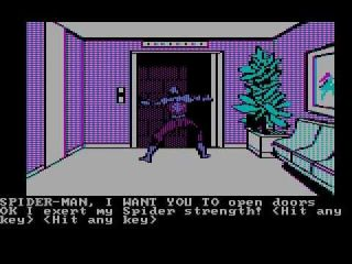 Questprobe featuring Spider-Man - Apple II, Atari 8-bit, Atari ST, BBC Micro, browser, Commodore 16, Commodore Plus/4, Commodore 64, DOS, Acorn Electron, ZX Spectrum, MSX (1984)
