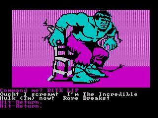 Questprobe featuring The Hulk - Apple II, Atari 8-bit, BBC Micro, browser, Commodore 16, Commodore Plus/4, Commodore 64, DOS, Dragon 32/64, Acorn Electron, ZX Spectrum (1984)