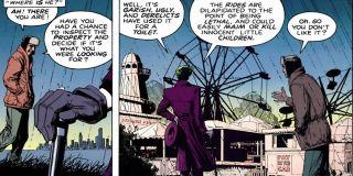"""Jeden z rysunków na budynku informuje, że Arthur Fleck mieszka niedaleko Amusement Mile – ten park rozrywki pojawił się już w komiksie """"Batman: Zabójczy żart""""."""