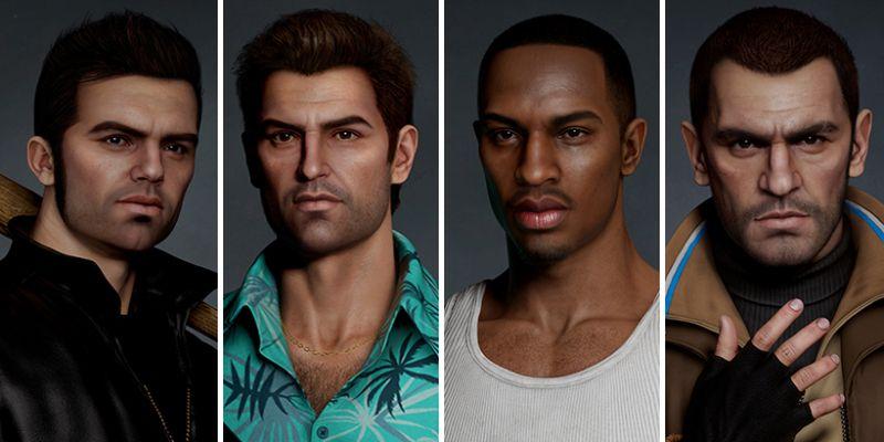GTA - bohaterowie klasycznych odsłon w realistycznym stylu. Tak mógłby wyglądać remake serii?