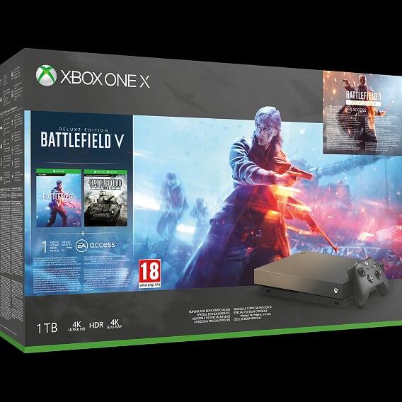 Konsola Xbox One X z dyskiem twardym 1TB w Edycji Specjalnej Gold Rush i grami Battlefield V, Battlefield 1 i Battlefield 1943 – 1699 zł